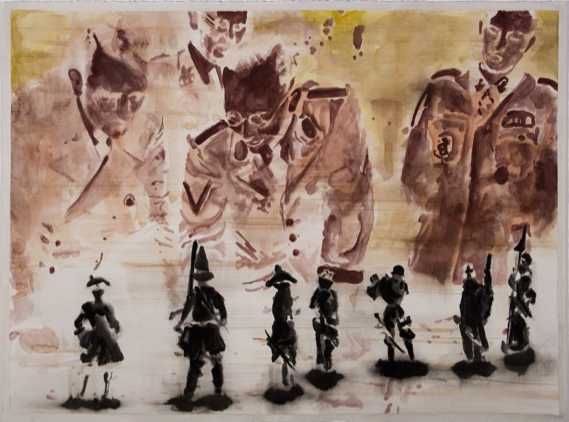 122024: «Männer Figurinen betrachtend negativ» (Men examining Figurines negative), 2008, Aquarell, 57 x 76 cm