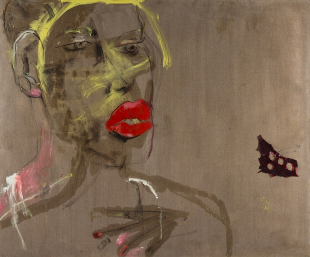 Karen Schwartz Lips, 2015 Mixed media on linen 60 by 72 inches $8,000
